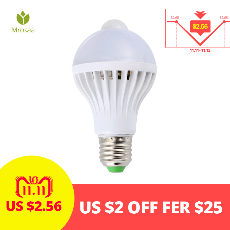Mrosaa AC85-265V Night Light Led Bulbs E27 5W 7W 9W LED PIR Motion Sensor Lights Home Auto Energy Saving Smart LED Lamp Bulb цена