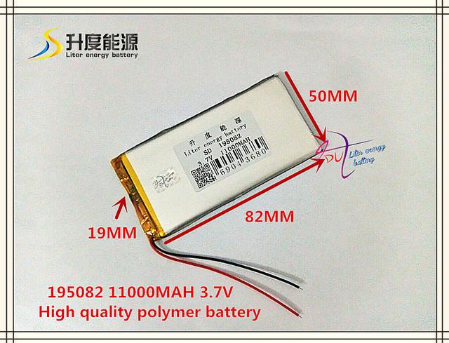 3.7 V 11000 mAh 195082 bateria De Polímero de iões de lítio/bateria para o banco poder Li-ion; VR; AR; DVR; MP4, tablet pc, telefone celular, telefone celular speaker