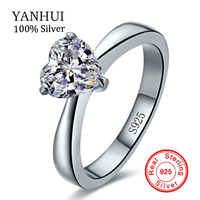 Luxury Jewelry Real 925 Silver Ring For Women Romantic Heart 2 Carat CZ Diamond Engagement Wedding