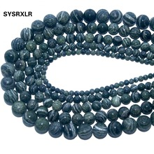 Wholesale Natural Stone Green Zebra Round Loose Beads For Jewelry Making DIY Bracelet Necklace Material 4 6 8 10 12 MM Strand