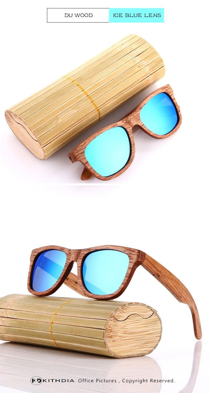 KITHDIA Real Zebra Polarized Handmade Bamboo Wood Sunglasses 18