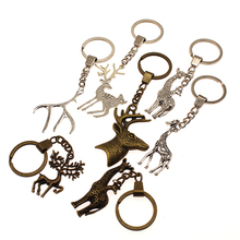 Deer Head With Antlers Mix Key Chain For Diy Handmade Gifts Jewelry