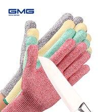Resistente al corte guantes de nivel 5 GMG Multicolor HPPE de grado de alimentos para la cocina Anti corte guantes prueba guantes