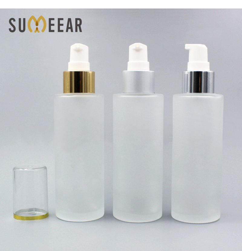 1pc New Emulsion Empty Frosted Glass Essential Oil Bottle Acrylic Lid Press Pump