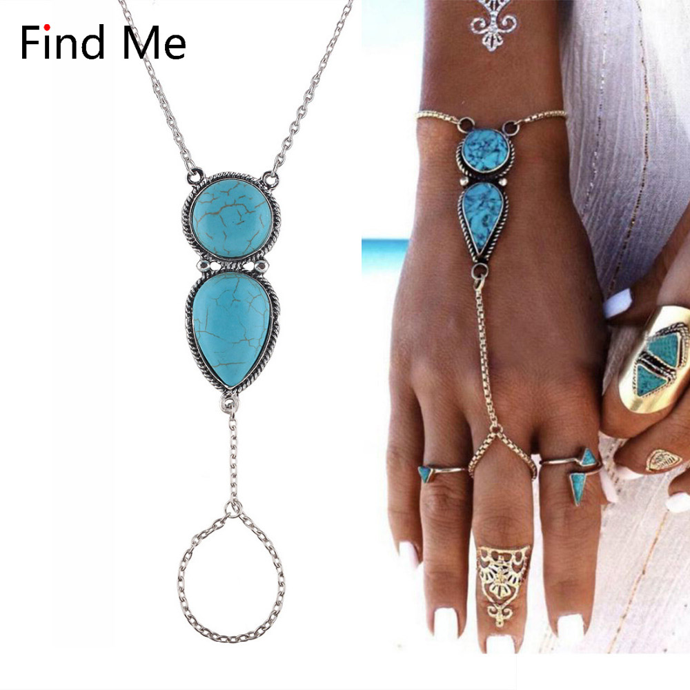Find Me 2018 brand fashion chain Connect fingers bracelet for women Jewelry boho Natural stone bracelets & bangles wholesale