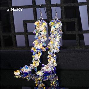 Image 1 - SINZRY jewelry Trendy round crystal dangle earrings  luxury silver glass crystal handmade long drop earrings for brides