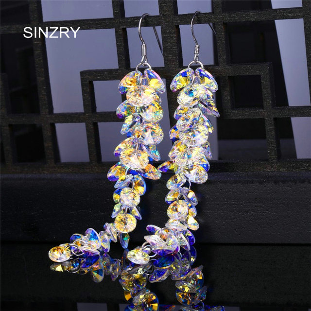 SINZRY jewelry Trendy round crystal dangle earrings  luxury silver glass crystal handmade long drop earrings for brides