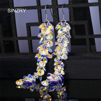 SINZRY Jewelry Trendy Round Crystal Dangle Earrings Luxury Silver Glass Crystal Handmade Long Drop Earrings For