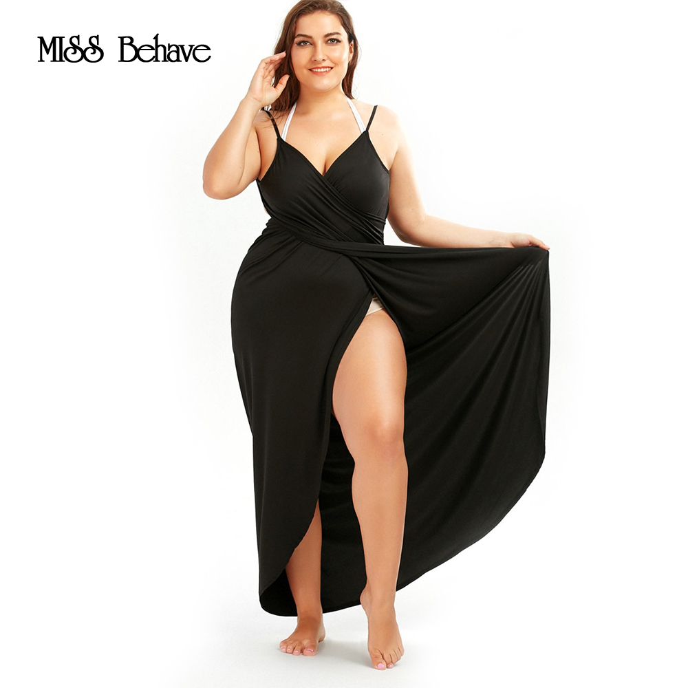 Miss Behave Women Plus Size Beach Wrap Knee Length Dress Sexy Loose Backless Beach -9113