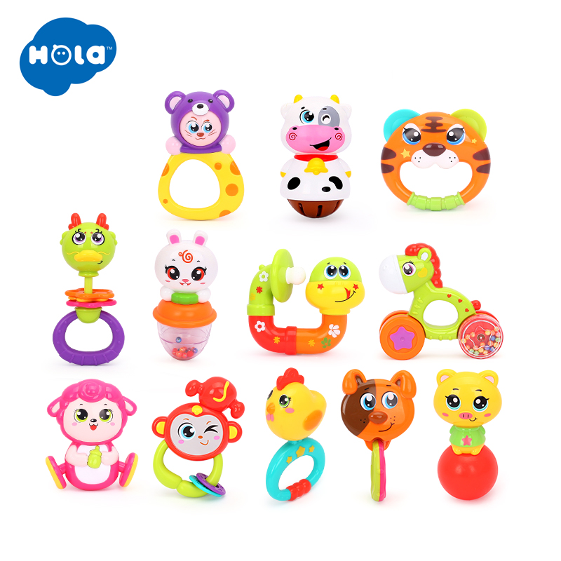 1pc HOLA 1101 Lovely Plastic Newborn Baby Toys Hand Shake Bell Ring Rattles Toys Baby Educational Toys