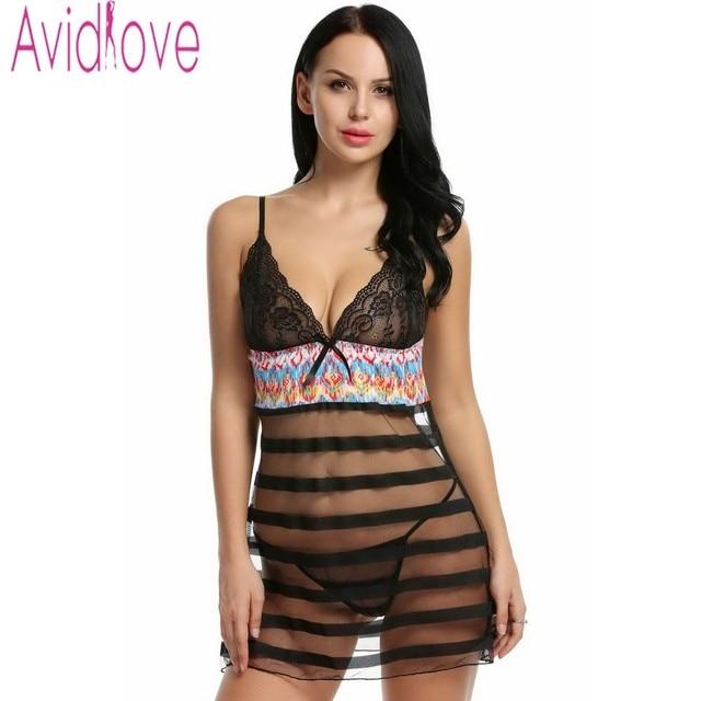 a52816a2f1 Avidlove Brand Sexy Babydoll Lingerie Dress Women Sheer Lace Stripe  Sleepwear Sexy See-through Erotic Night Dress + G-string