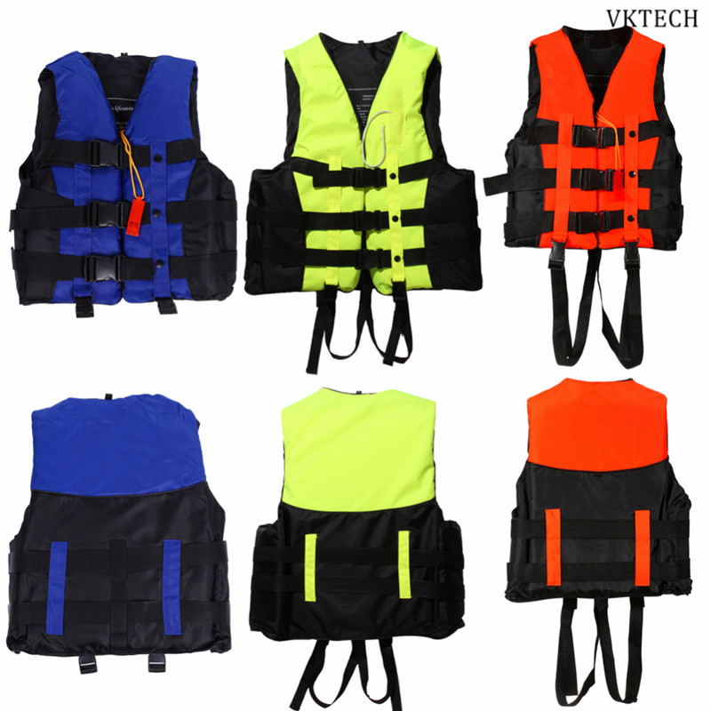 6 Sizes Professional Swimwear Polyester Adult Life Jacket Foam Vest Survival Suit With Whistle For Swimming