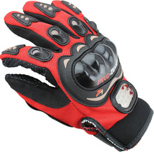 Outdoor Sports Full Finger Professional Riding Motorbike Motorcycle Gloves Black Red 3D Breathable Mesh Fabric Leather
