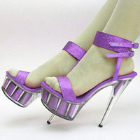 14cm Sexy Women Motorcycle Shoes Strappy Sandals Platform Rome Dress Dance Shoes 5 Inch Hand Made
