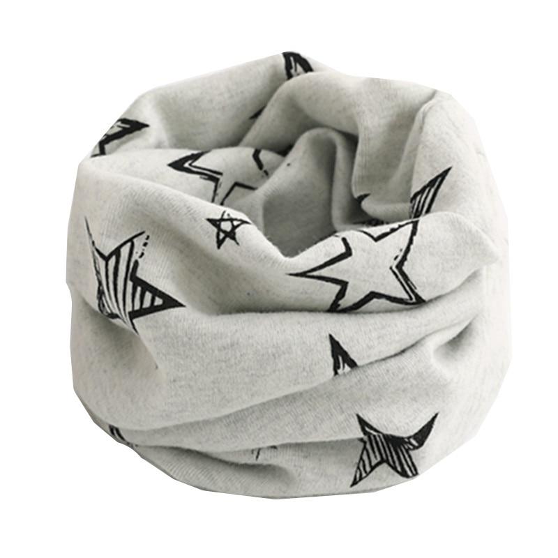 Осенне-зимний детский хлопковый шарф для девочек и мальчиков теплые шарфы Детский круглый кольцевой ошейник Детский шарф детский волшебный шейный платок - Цвет: gray star