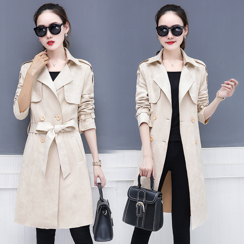 women Chamois   Trench   coat female Double-breasted long windbreaker spring autumn new long-sleeved simple Slim thin waist coat