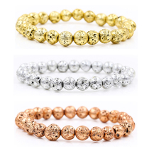 Plated Gold Silver Rose Color Lava beads/lava/natural/fashion/bangle Bracelet Men bead Jewelry Male Valentine Gift