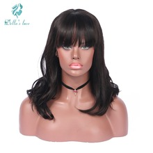 Body Wave Lace Front Human Hair Extension Wigs With Bangs For Black Women Brazilian Remy Human Hair Lace Short Bob Wigs