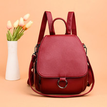 New Style Women Leather Backpack High Quality Mochilas Female Back Pack Vintage Packbag School Bag For Girl Solid Casual Daypack high quality solid pu leather backpack women bag vintage style black bagpack female casual college girl back pack youth 2018