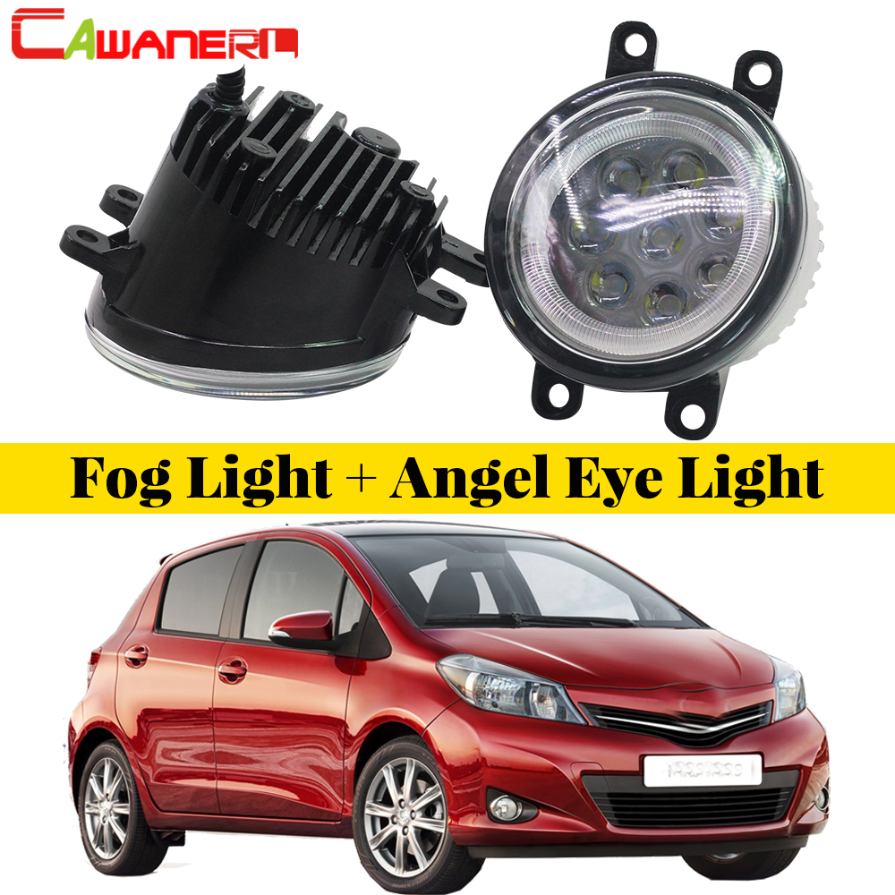 Cawanerl 2 Pieces Car LED Lamp External Fog Light Angel Eye Daytime Running Light DRL 12V Styling For Toyota Yaris 2006-2013 cawanerl for 2006 2014 suzuki sx4 ey gy car styling led fog light lamp angel eye daytime running light drl 12v 2 pieces