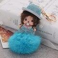 Monchichi llavero bebé Sleutelhanger bola de pelo de conejo Chaveiro Carro 11 colores Rhinestone del monedero del bolso la mujer y accesorios