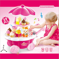 Children Pretend Play Candy Shop Cart Toy With Lighting Battery Powered Indoor Outdoor Ice Cream Car Made By ABS Plastic