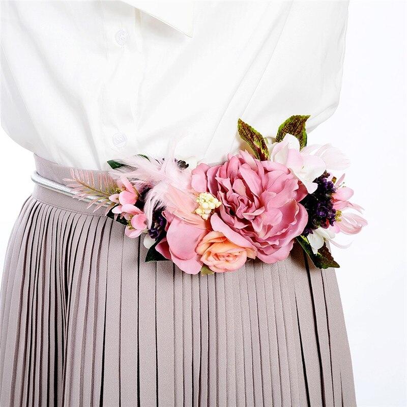 Delicado Floral cinturones Vintage flores cintura para damas elegante mujer moda oro/plata Metal cadena