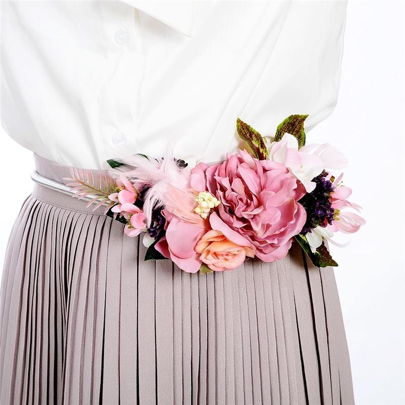 Floral délicat Ceintures Vintage Fleurs Ceinture pour Dames Élégantes Mode femme Or/Argent Chaîne En Métal