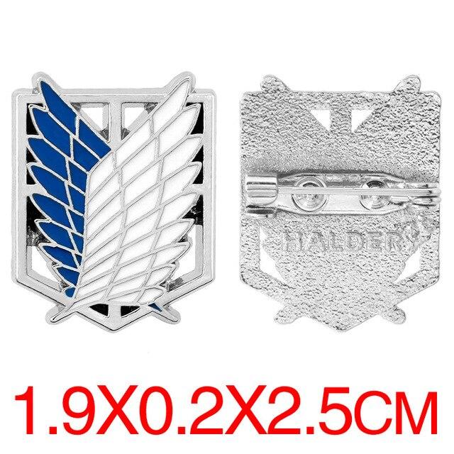 Аниме брошка Атака Титанов Эмблема отряда разведки металлическая