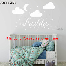 JOYRESIDE Clouds Moon and Stars with Personalized Custom Name Wall Decal Vinyl Sticker For Kids Girls Baby Bedroom Decor XY067