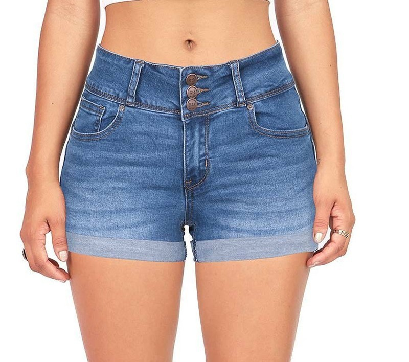 Women Clothing European and American BF summer wind female blue high waist denim   shorts   women worn loose burr hole jeans   shorts