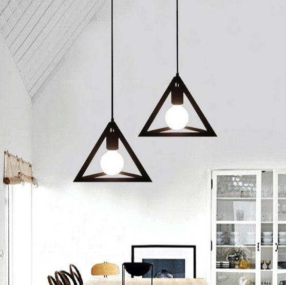 Simple Color Loft Lamp Edison Bulb Modern Pendant Light Fixtures Creative Triangle Hanging For Dining Room Indoor Lighting In Lights From