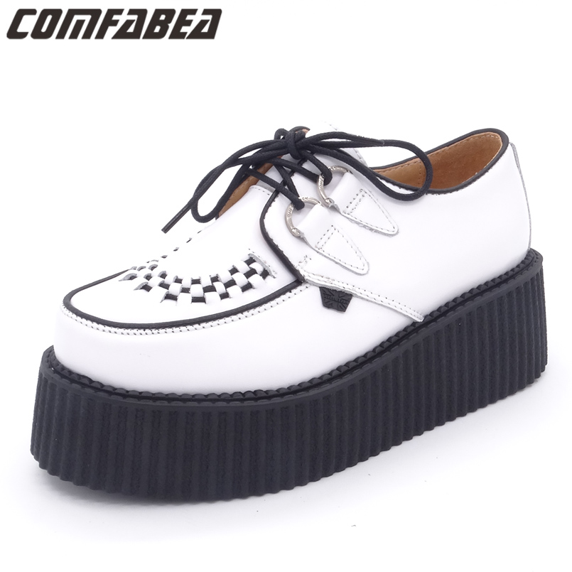 Spring Autumn 2018 Mens Shoes Casual HARAJUKU Creepers Cow Leather Punk High Platform Footwear For Men Autumn Men Shoes 2017 new spring imported leather men s shoes white eather shoes breathable sneaker fashion men casual shoes
