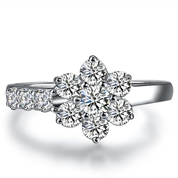 05carat Big diamond Flower design Engagement GVBORI 18K White