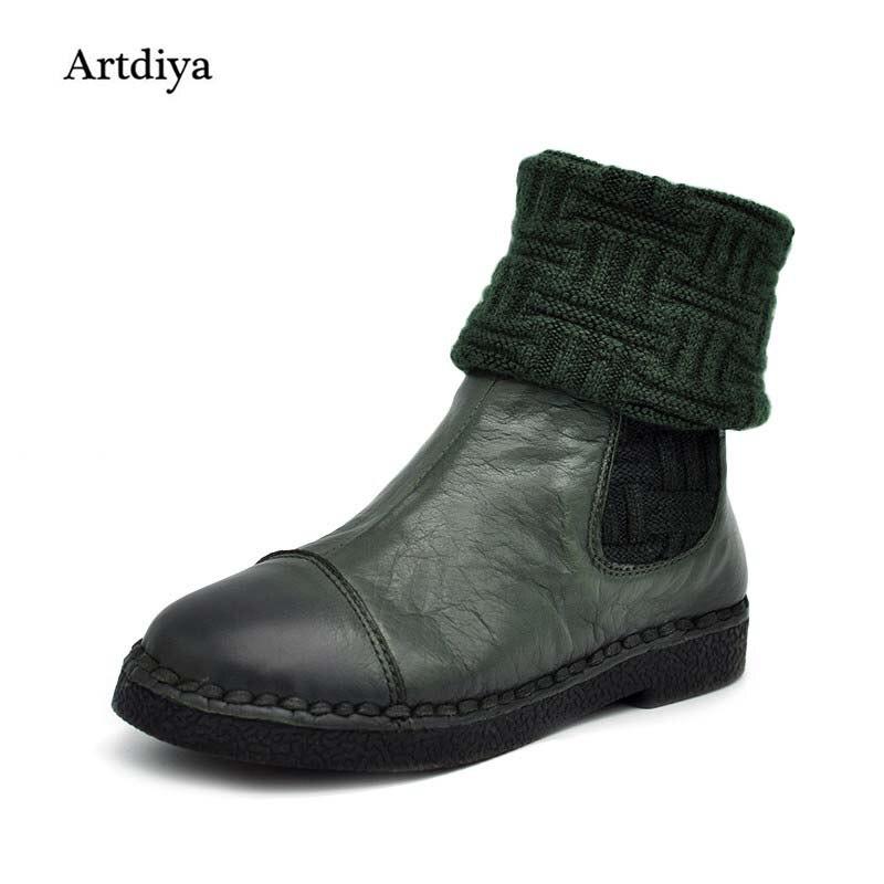 Artdiya 2019 여성 플랫 잘 생긴 캐주얼 여성 부츠 라운드 발가락 정품 가죽 부츠 중간 다리 부츠 무료 배송 3188 90-에서미드 카프 부츠부터 신발 의  그룹 1