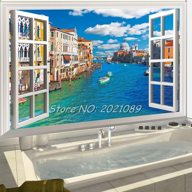 New Urban River D Window Wall Stickers Landscape Venice Of - 3d window wall decals