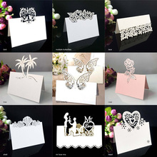 Birthday Party Decor Place Cards Laser Cut 50 Pcs Hollow Pattern Heart Shape Wedding Event Table Name Card Flower Decoupage