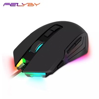 FELYBY Professional M715 5000 DPI 8 Buttons Adjustable LED Backlit Wired Ergonomic Gaming Mouse for Computer and Laptop