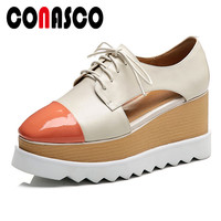 CONASCO 2019 New Fashion Women Flats Genuine Leather Casual Shoes Cross Tied Flatforms Flats Increase Within Basic Shoes Woman