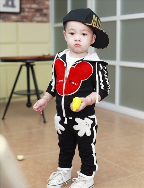 20`7 New Spring/Autumn sports children's set baby Boys girls clothing sets Minnie Kids Hooded Sweatshirts knit baby clothes
