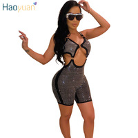 HAOYUAN Glitter Rhinestones Sexy Shorts Rompers Jumpsuit One Piece Outfit Party Club Costumes Backless Body Bodycon Playsuit