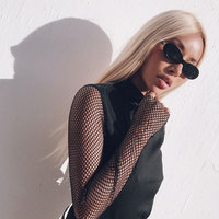 Sexy Mesh Tops Long Sleeve Fishnet Patchwork T Shirt Women Black 2017 New Autumn Winter Party