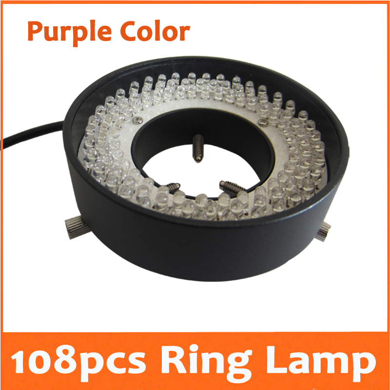 108pcs Purple Light LED Illuminated Adjuatable Laboratory Biological Stereo Microscope Ring Lamp Inner Diameter 41mm 90V-264V yellow light 156pcs led adjustable zoom lamp ring lamp 8w 90v 264v 81mm inner diameter for medical stereo biological microscope