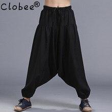 2017 hombres de la Moda de Primavera otoño algodón de lino harem pantalones  hombres acogedor elástico cintura Cruz pantalones má. 25e5a7574a6