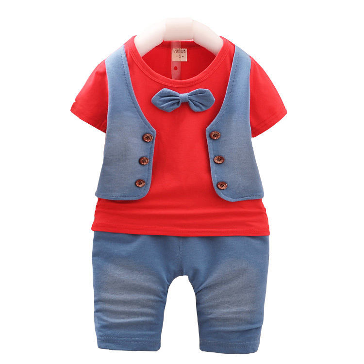 2019 Summer Children Boy Girl Garment Baby Bow Tie Short Sleeve T-shirt Shorts 2 Pcs Kid Pure Cotton Bowknot Infant Clothes Sets