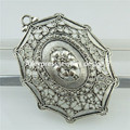 Free shipping 18471 2x Vintage Antique Silver Alloy Tent Design Leaves Flower Filigree Pendant