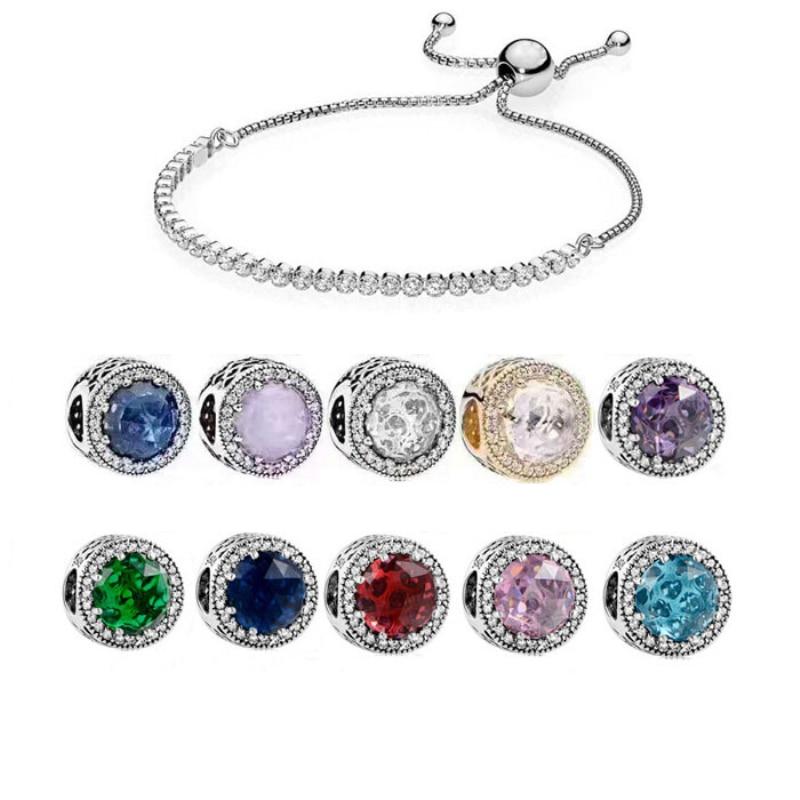 Fits Pandora Jewelry Charm DIY Tassel Bracelet Sterling Silver 925 Shine Rope Adjustable Sen Beads Opal Ocean Heart