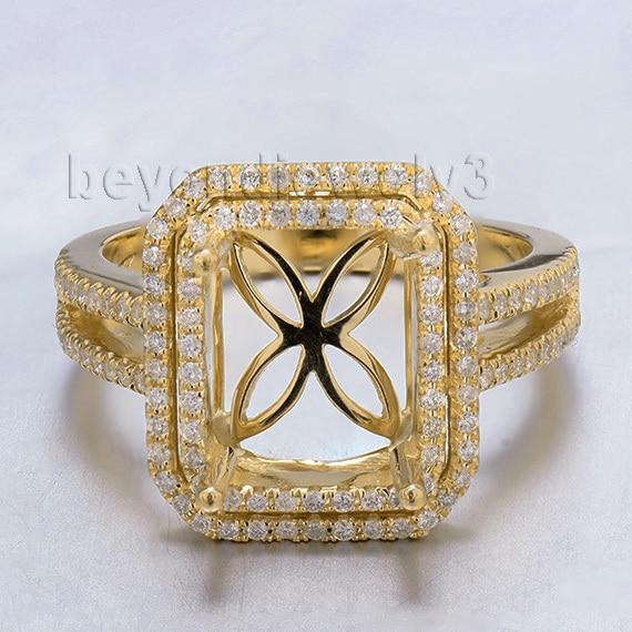 Emerald Cut 8x10mm Semi Mount 18Kt Yellow Gold Natural Dia Vintage Ring 2T018Emerald Cut 8x10mm Semi Mount 18Kt Yellow Gold Natural Dia Vintage Ring 2T018