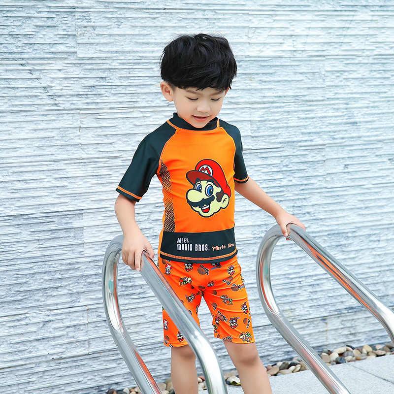 7c0b49f3f ... Baby Boy Swimwear Mario Print Rash Gurad Set 3 Pieces Boys Swimsuit  UPF50+ Short Sleeve Beachwear ...