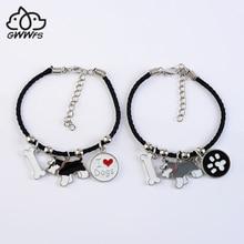 Standard Schnauzer charm bracelets for women girls silver color alloy dog pendant black rope chain female bracelet bijoux femme